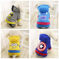 Cute Warm Dog Clothes Winter Pet Coat Puppy Costume Hoodie Minions Batman Captain America Clothing for Dogs 29