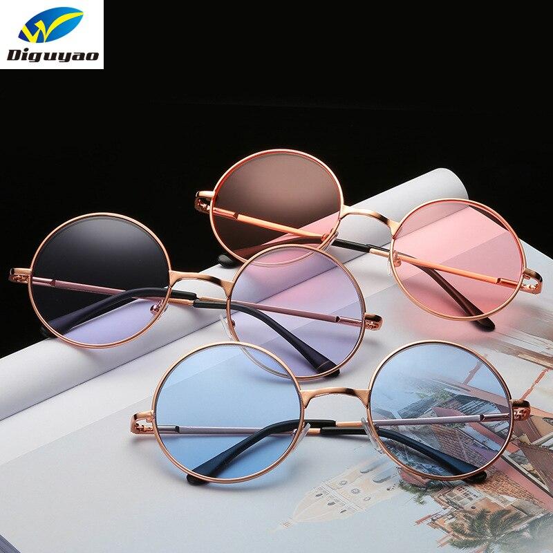 DIGUYAO Vintage classique Multicolore lunettes de Soleil Rondes Femmes  Métal cadre Mercure Réfléchissant Lunettes De Soleil Hommes Marque Lunettes  de Soleil ... aa4eef2c6288