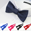2016 New Self Bow Ties Mens Bowties Solid Color Plain Silk Tie Butterflies Noeud Papillon Business Wedding Factory Sale