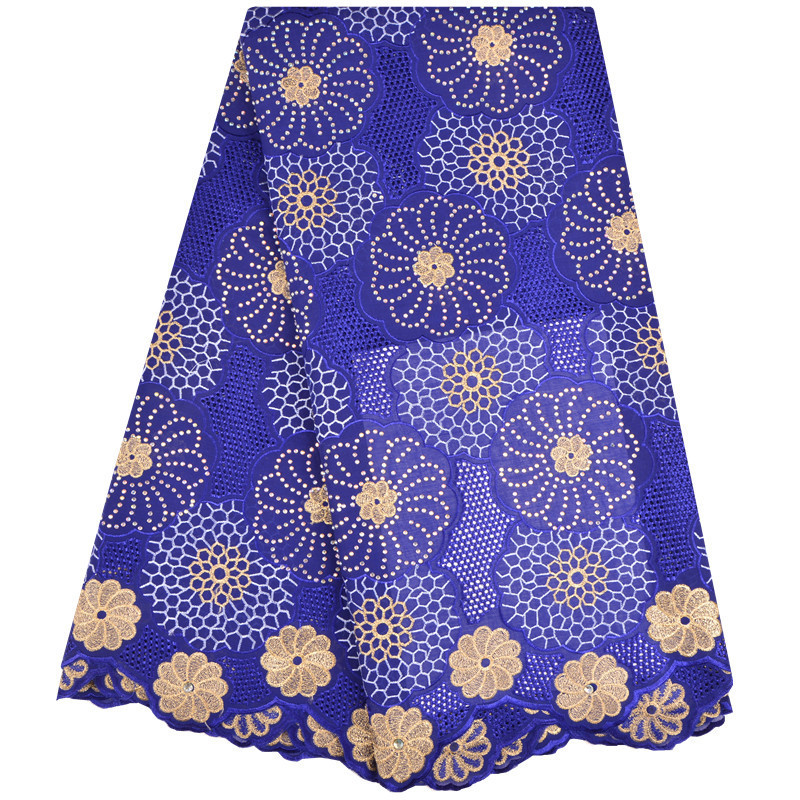 High Quality Royal Blue African Swiss Voile Lace African Polish Swiss Cotton Voile Lace Fabric Embroidery