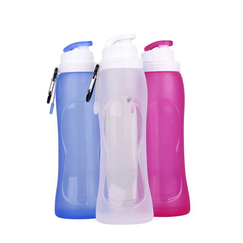 500 ml Plegable plegable Bebida Botella de Agua Pot Viajes Silicona Deporte