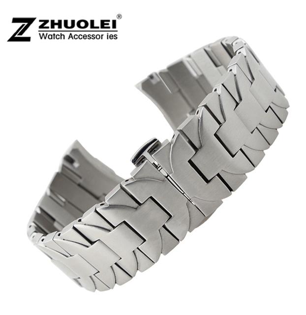 Faixa de relógio 24mm New Mens Prata de Alta qualidade Pulseiras De Relógio de Aço Inoxidável Cinta Depolyment Assista buckle clasp para PAM pulseira