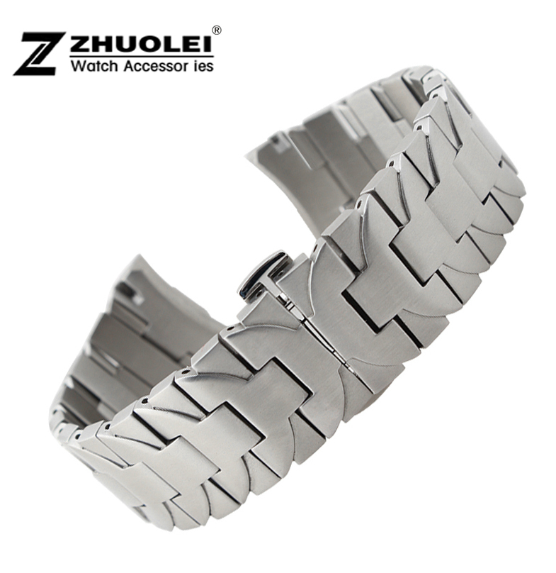 ФОТО Watch band 24mm New Mens Silver High quality Stainless Steel Watchbands Strap Depolyment Watch buckle clasp for PAM bracelet