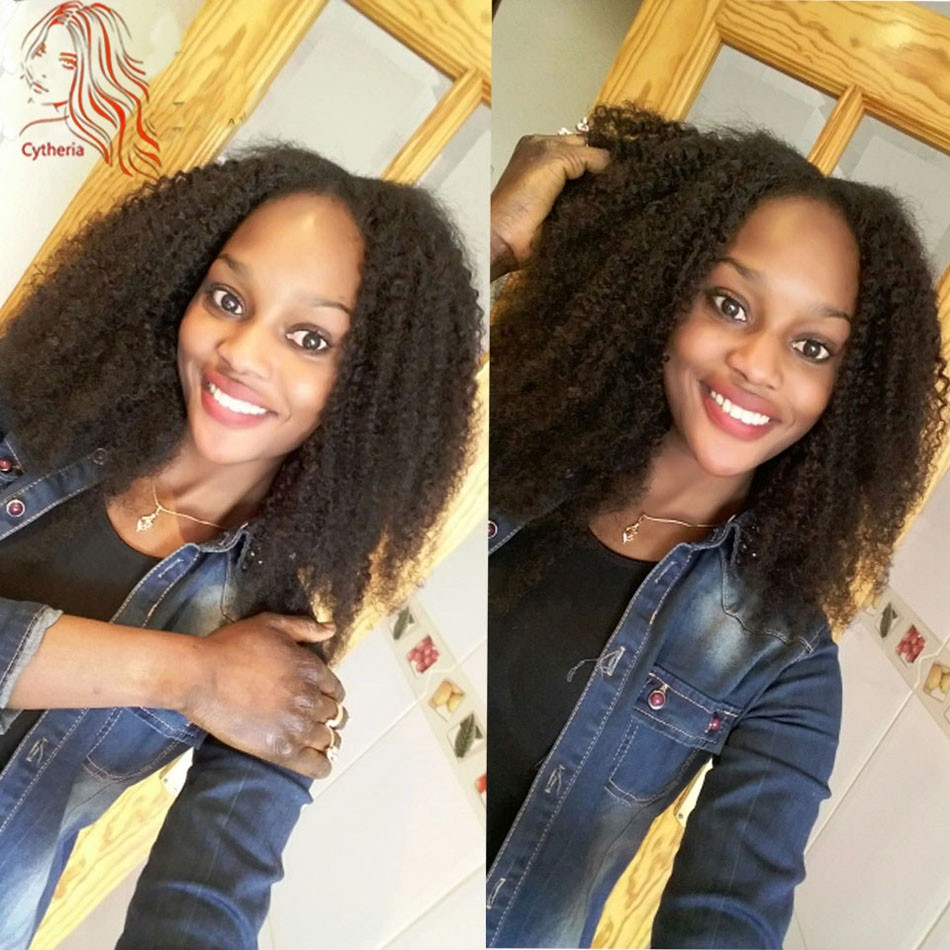 Mongolian-Afro-Kinky-Curly-Hair-3Pcs-lot-Human-Hair-Extensions-Rosa-Curly