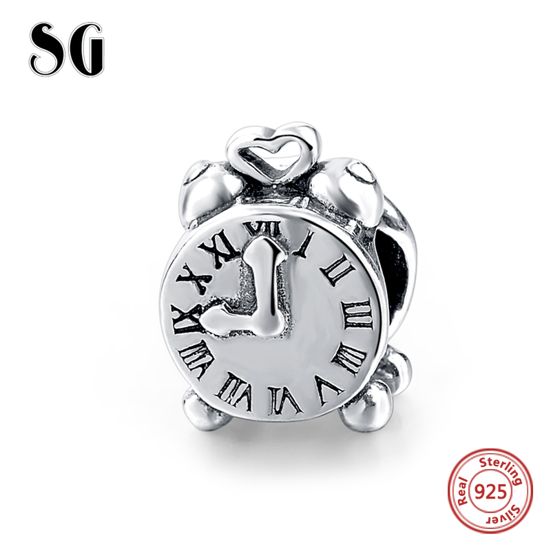 Fit Authentic pandora charm beads silver 925 original Antique Clock Collect Pendant Beads Jewelry Gift for women free shipping