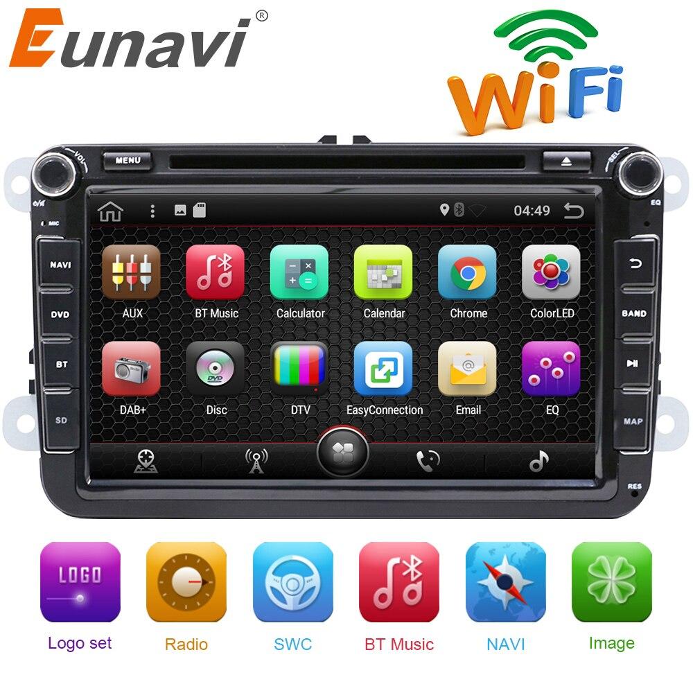 Eunavi 2 Din 8 polegada Quad core Android 7.1 jogador do carro dvd para VW Polo Jetta Tiguan passat b6 cc fabia ligação espelho wi-fi Rádio CD em traço