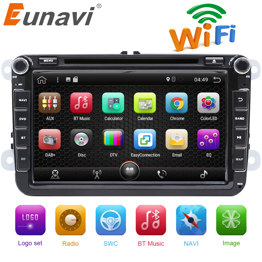Eunavi 2 Din 8 pulgadas Quad core Android 7,1 car dvd para VW Polo Jetta Tiguan passat b6 cc fabia espejo enlace wifi Radio CD en el tablero