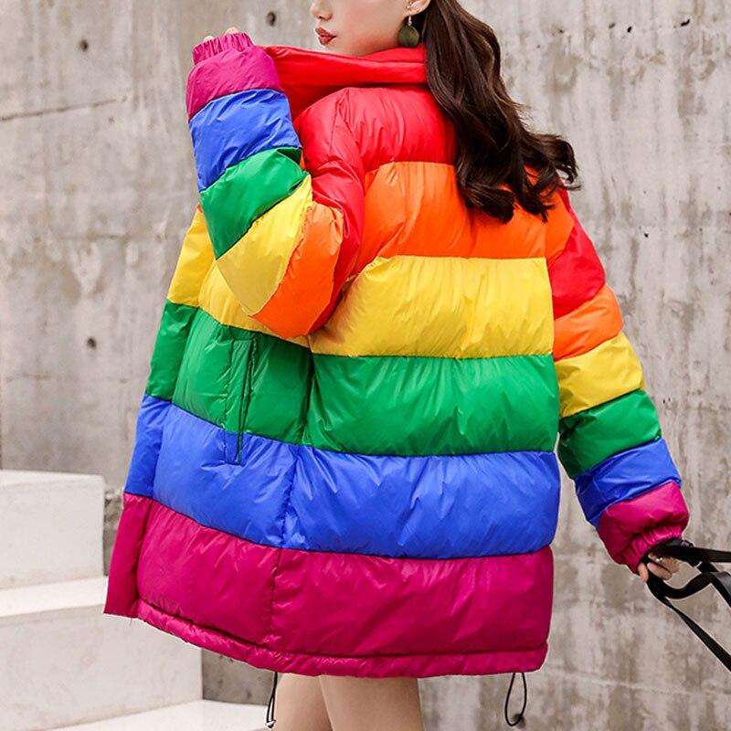 Poche Manteau Femme Rayé Arc Chaud Rainbow Femmes Surdimensionné Winterjacke Sobretudo Lâche Court Veste en Parka épais Puffer 4qTfqx