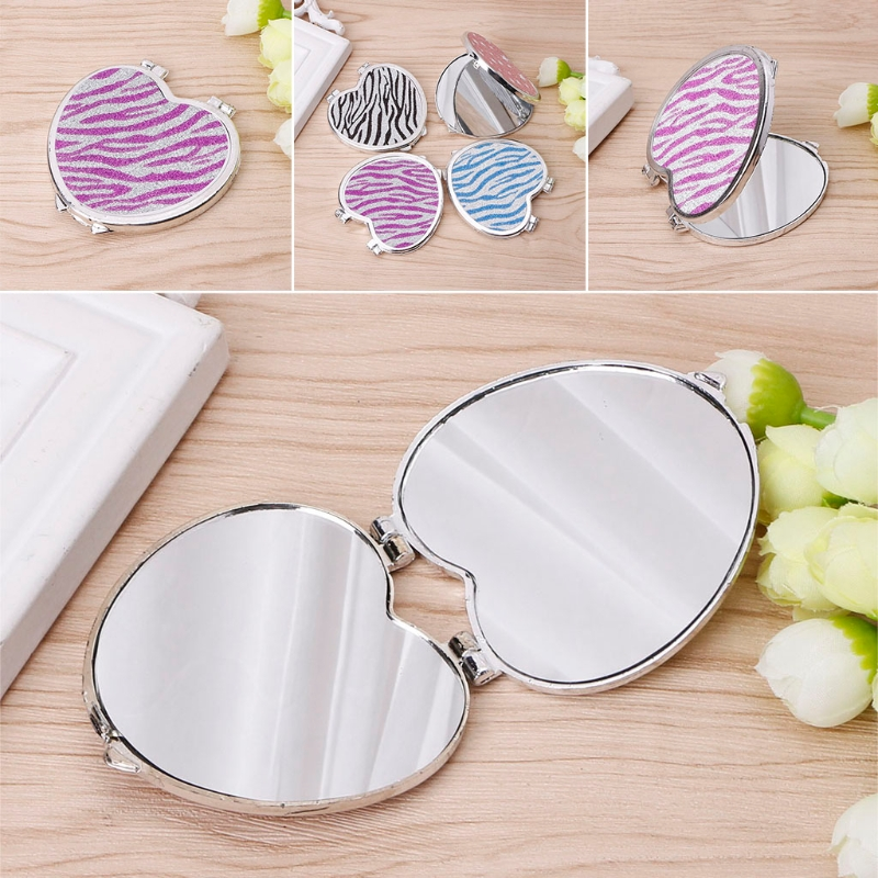 Travel Women Make Up Mirror Hand Pocket Heart-shaped Double Folded-side Mirror Cosmetic Portable Cute Plastic The Latest Fashion Mirrors