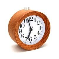 Trang trí nội thất diy kỹ thuật số bàn tròn snooze bàn gỗ sồi alarm clock backlight hẹn giờ đồng hồ báo thức 2017ing