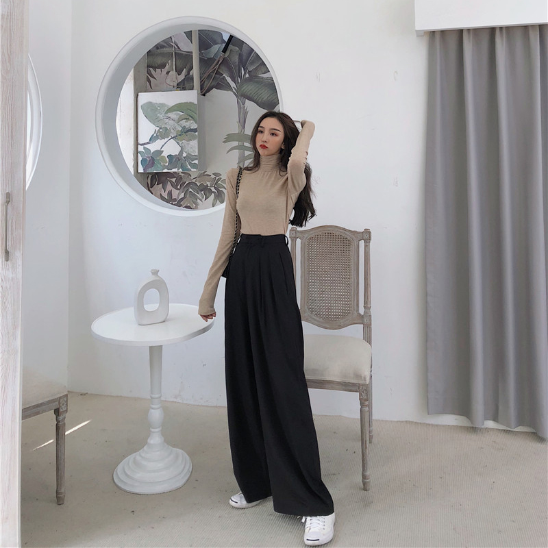Mazefeng 2019 Spring Autumn Female Solid Wide Leg Pants Women Full Length Pants Ladies High Quality