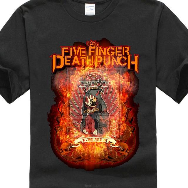 2017 Cool Men Funny 5 Five Finger Punch Burn In Sin Graphic T Shirt Merch Ffdp 5fdp Printed T Shirt Harajuku Tee Shirts
