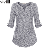 Women Henley V Neck Space Dyed Cuffed Sleeve T Shirt Tops 2017 Elegant V Neck Knit