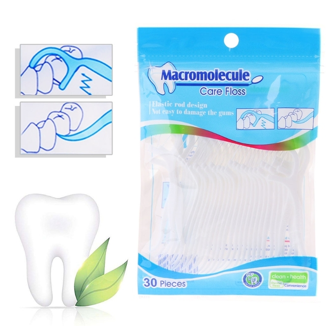 30 piezas para limpieza de dientes de goma bucal hilo de hilo Dental palillos de dientes de plástico alambre Dental Cuidado Bucal blanqueamiento de dientes