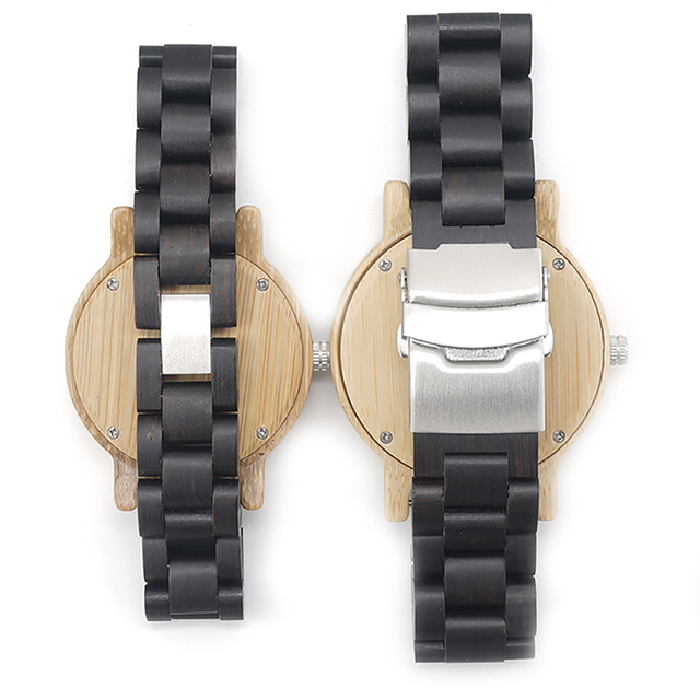 BOBO BIRD L-N14 Couple Wooden Watches 100% Natural Wood Watches Men Women Clock Christmas Gift in Case 4