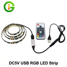 USB 5V LED Strip 5050 RGB TV Background Lighting 60LEDs/m with 17Key RF Controller 50cm / 1m / 2m Set
