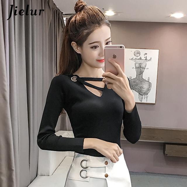 fbf55c3952d0ce Jielur Autumn Hollow Out V-neck Thin Sweater for Women Winter Chic Sexy  Solid Color Knitting Top Femme Elegant Fashion Pullovers