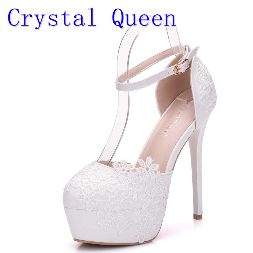 Crystal Queen Flower Lace Wedding Shoes Hollow High Heels Baotou Dress Shoes  Sandals Women s Shoes New 7691b60f880c