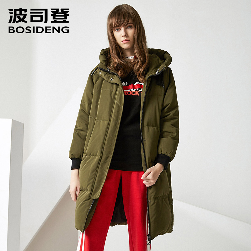 BOSIDENG winter women   down     coat   hooded   down   jacket wide waist thicken outwear high quality fashion chic casual wear B70142126