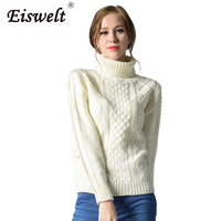 EISWELT Thicken Turtleneck Knitted Pullover Sweater Women Soft Jumper Pull Femme Autumn Winter 2017 Warm Knitting