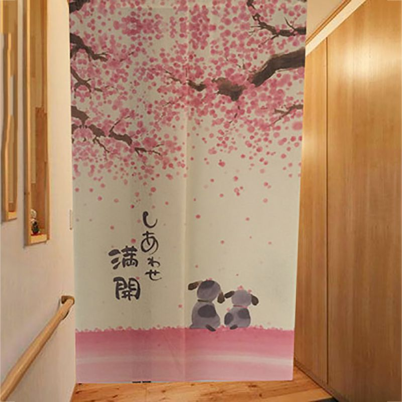 Romantic Blossom Cherry Sakura And Little Dog Japanese Noren Doorway Curtain  85X150cm Decorative Door Curtain 2017