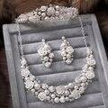 Nueva Moda Elegante perlas de marfil de la Boda joyería nupcial establece la flor de Rose Crystal joyería de la boda para la novia accesorios para el cabello