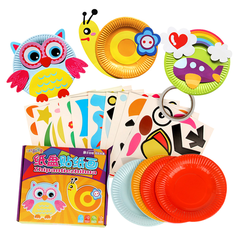 10pcs/box Kids Colorful Paper Plate DIY Handmade Toys Children Cartoon Animal Rainbow Paper Disc Drawing Craft Toys DIY Stickers