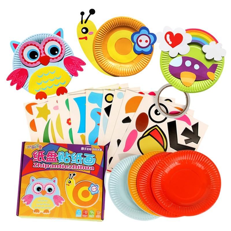 10pcs/box Kids Colorful Paper Plate DIY Handmade Toys Children Cartoon Animal Rainbow Paper Disc Drawing Craft Toys DIY Stickers