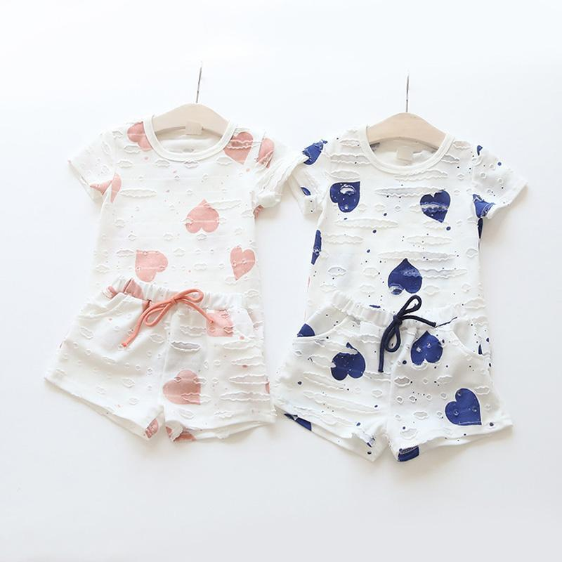 Fashion 2017 New toddler girl clothing set baby girl clothes t shirt + shorts 2 piece kids clothes pattern summer children set