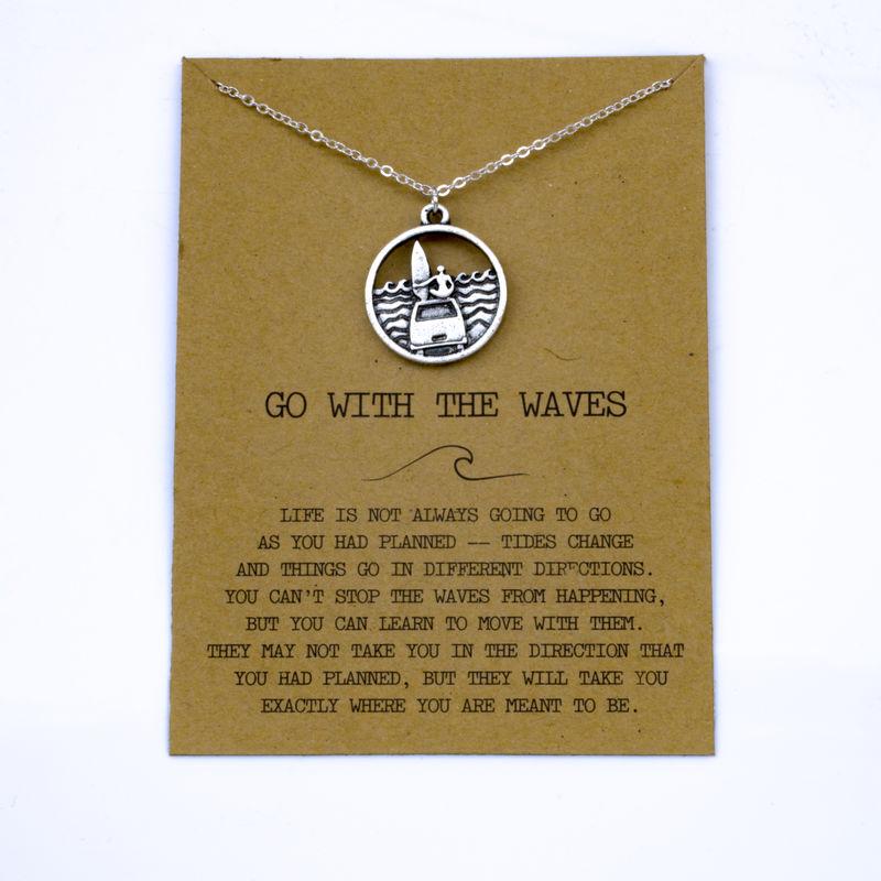 """SanLan 1 шт идут в комплекте ожерелье с подвеской """"волны"""" Океан ювелирные изделия - Окраска металла: 06"""