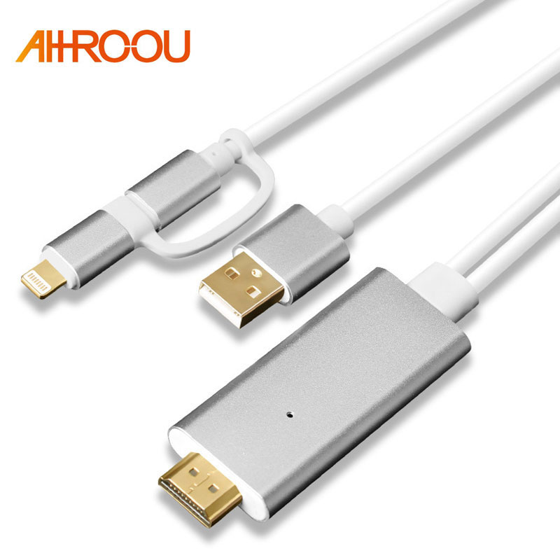 2 in 1 For MHL HDMI Cable For Samsung A7 J5 / For iPhone X 8 7 6 6 Plus Huawei Micro USB to HDMI Cable Adapter HDTV TV Connector
