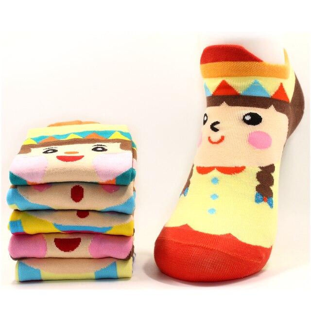 Mujeres calcetines lindo personaje de dibujos animados incluye 6 pares