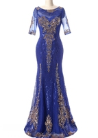 Hot Sale New Arrival Mermaid Trumpet Jewel Floor Length Sequins Lace Tulle Party Gowns Mother Of