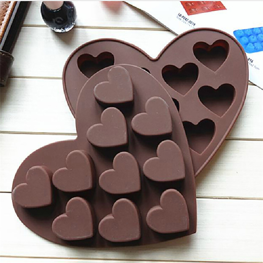 TENSKE Silicone Ice Cube Tray Easy Pop Maker Heart Shape Cubes Mould Valentines Gift*30 2017 hot sale