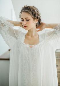 Image 3 - Gezonde Thuis Jurk Nachtjapon Vrouwen Plus Size Lange Witte Katoenen Nachtkleding Flare Mouwen Casual Sleep Shirt Lady T39