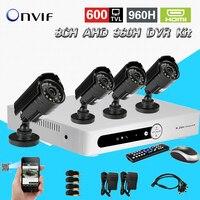 Home CCTV 8CH DVR AHD 960h D1 Recording 4PCS IR Outdoor Waterproof CCTV Camera Security System