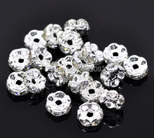100Pcs Silver Plated Ornate Rondelles Clear Rhinestone Spacer Beads Jewelry Making Charms Findings Wholesale 8mm