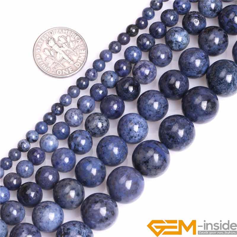 4/6/8/10/12mm A Grade Dumortierite Naturais Pedra de Gema Pedra Semi Preciosa Escuro azul Rodada Solta Pérolas Bead Para Fazer Jóias 15