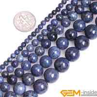 4/6/8/10/12mm A Grade Natural Dumortierite Stone Gem Stone Semi Precious Dark Blue Round Beads Loose Bead For Jewelry Making 15""