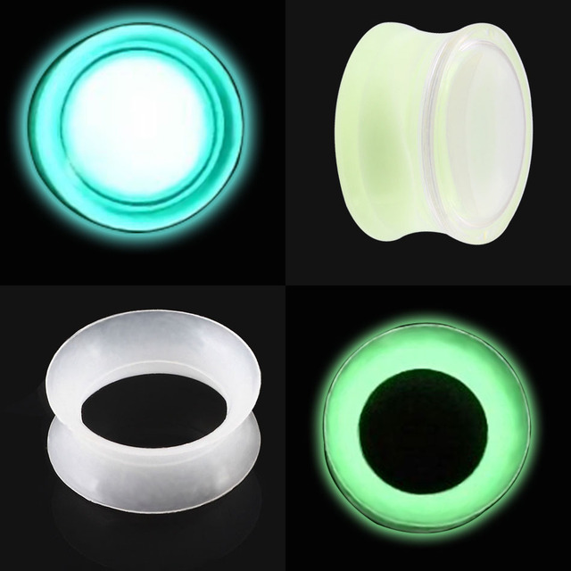 2Pcs Luminous Ear Tunnels Piercing Thin Silicone & Acrylic Clear 6-25mm Flesh Ear Piercing Flow Liquid Ear Tunnels Piercing