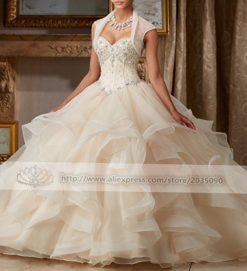 Elegant 2018 Ball Gown Quinceanera Dresses With Jacket Sparkly Sweet 16 Year Princess Dresses For 15 Years Vestidos De 15 Anos