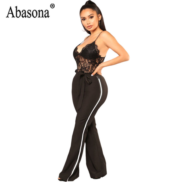76dab753b5 Abasona Lace Jumpsuit Womens Spaghetti Strap Jumpsuits Sexy Backless  Sleeveless Club Jumpsuit Black Wine Red Wide