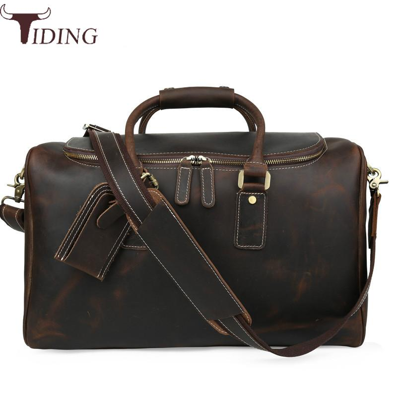 Us 144 41 15 Off Tiding Italian Leather Travel Duffle Bags Women Luggage Handbag Designer Weekender Bag Overnight Brown Tote Hot In