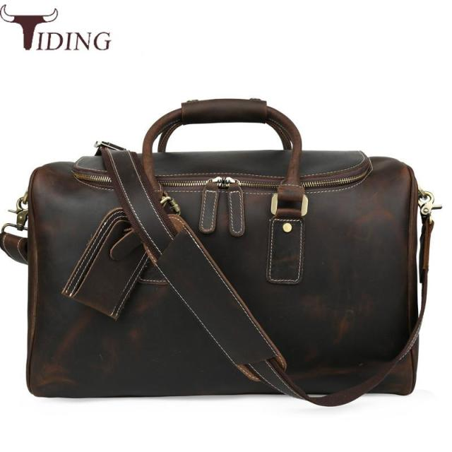 Tiding Italian Leather Travel Duffle Bags Women Luggage Handbag Designer Weekender Bag Overnight Brown