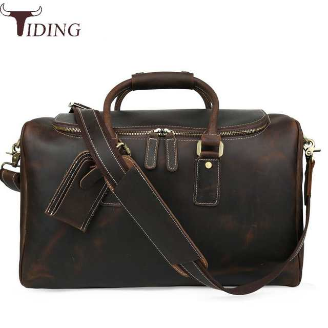 Us 144 41 15 Off Tiding Italian Leather Travel Duffle Bags Women Luggage Handbag Designer Weekender Bag Overnight Brown Tote Hot In