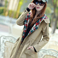 2016 moda otoño Nueva Mujer con capucha larga Chaqueta de Algodón abrigo de Las Mujeres Outwear cazadora Estilo Coreano Mujeres chaqueta larga vestido WC021