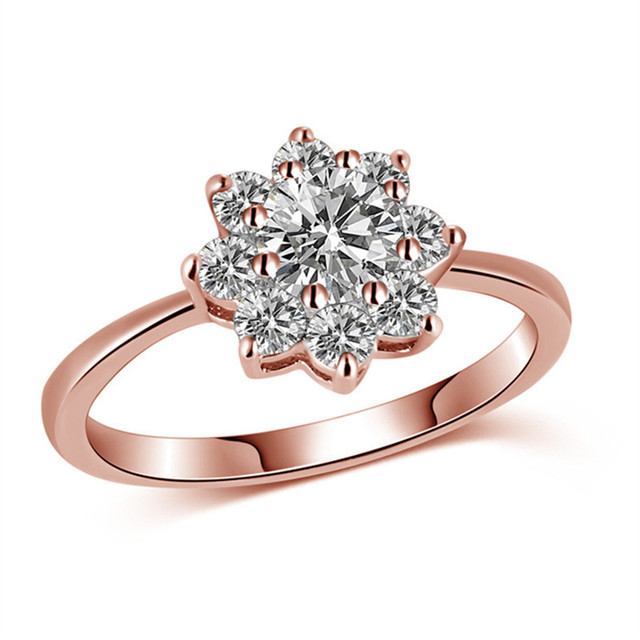7adc96f6582c Crystals From Swarovski Engagement Ring Bijoux Flower Poetic Daisy Cherry  Rose Gold Color Rings For Women jewelry Party Gift