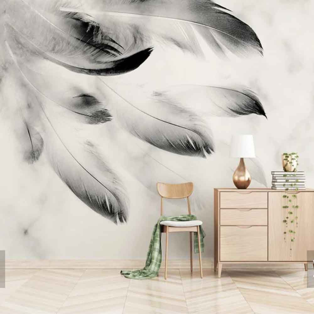 3D Abstract Black White Feather Animal Feather Mural For Sofa TV Background Wall Paper Rolls Print Photo Wallpaper Custom Size
