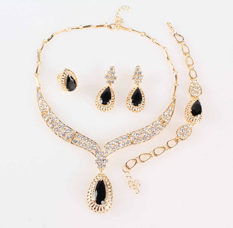 Moda colar de cristal colar conjuntos de jóias para feminino acessórios de festa contas africanas brincos pulseira conjuntos de anel do vintage preto