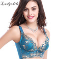 Plus Size 85C Cup Shaping Women Brassiere Gold Thread Embroidery Bras Intimates Sujetador Sexy Deep V Push Up Soutien Gorge D3